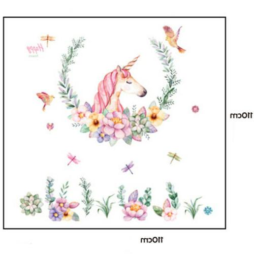 New Unicorn Flower Removable Wall Girls Decor Decals