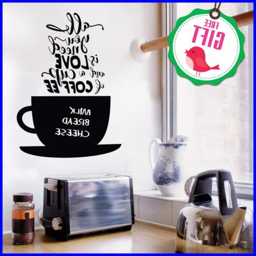 chalkboard coffee wall decals quotes for kitchen