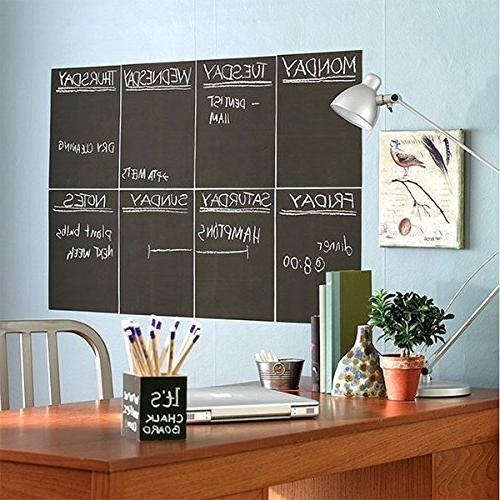 Extra Large Paper Vinyl Poster Chalk Board Alternative w/Bonus - and Stick Black DIY Wallpaper 78.7""