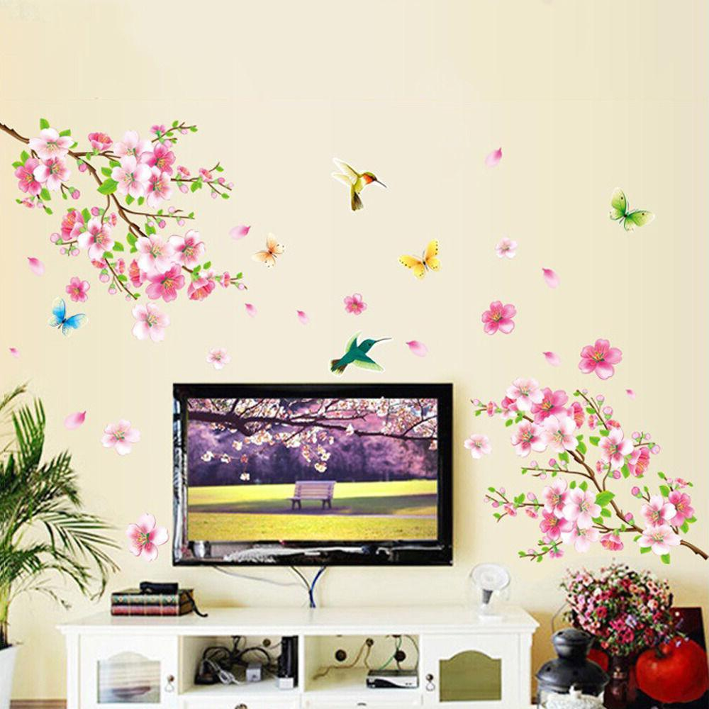 Cherry Tree Butterfly Sticker Art Mural DIY Decals US