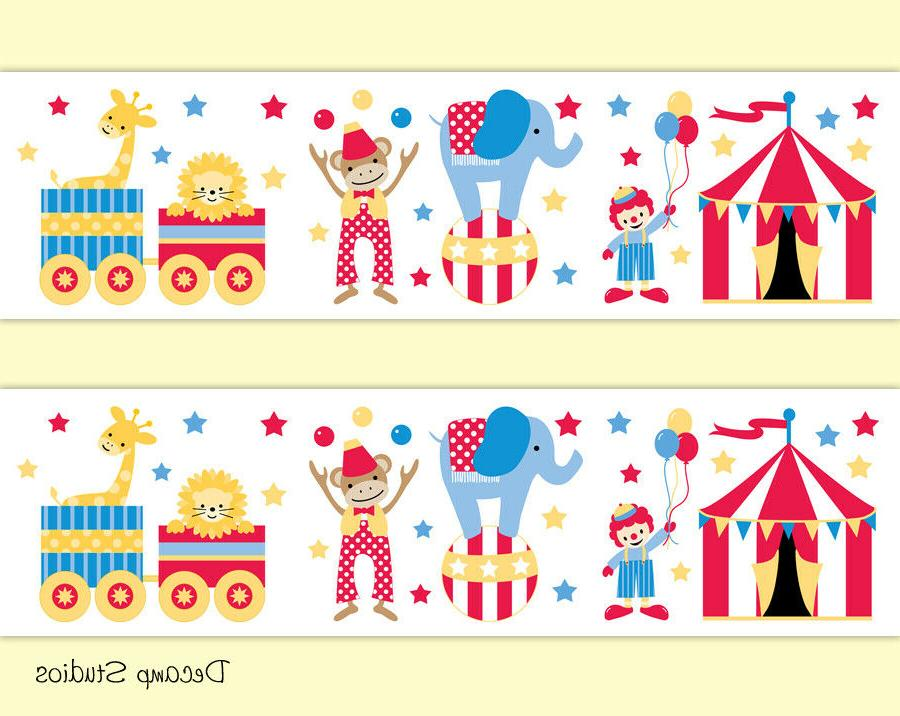 circus animals train clown baby nursery wallpaper