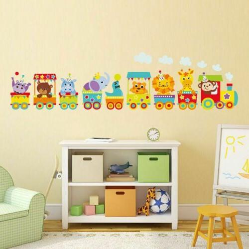circus train animals wall decals children kids