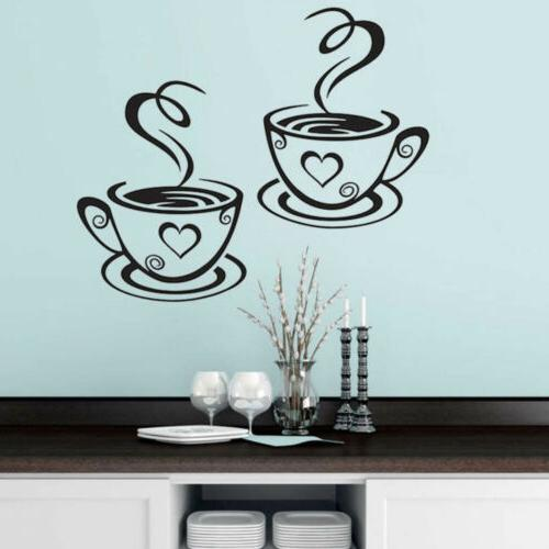 Coffee Cups Wall Stickers Art Vinyl Decal Kitchen