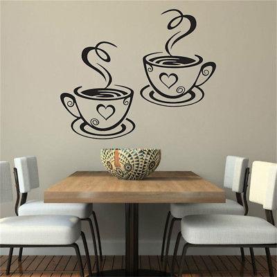 Coffee Cups Wall Decal Kitchen Restaurant Pub