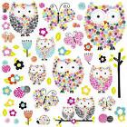 Colorful OWLS & BUTTERFLIES WALL DECALS 48 New Girls Bedroom