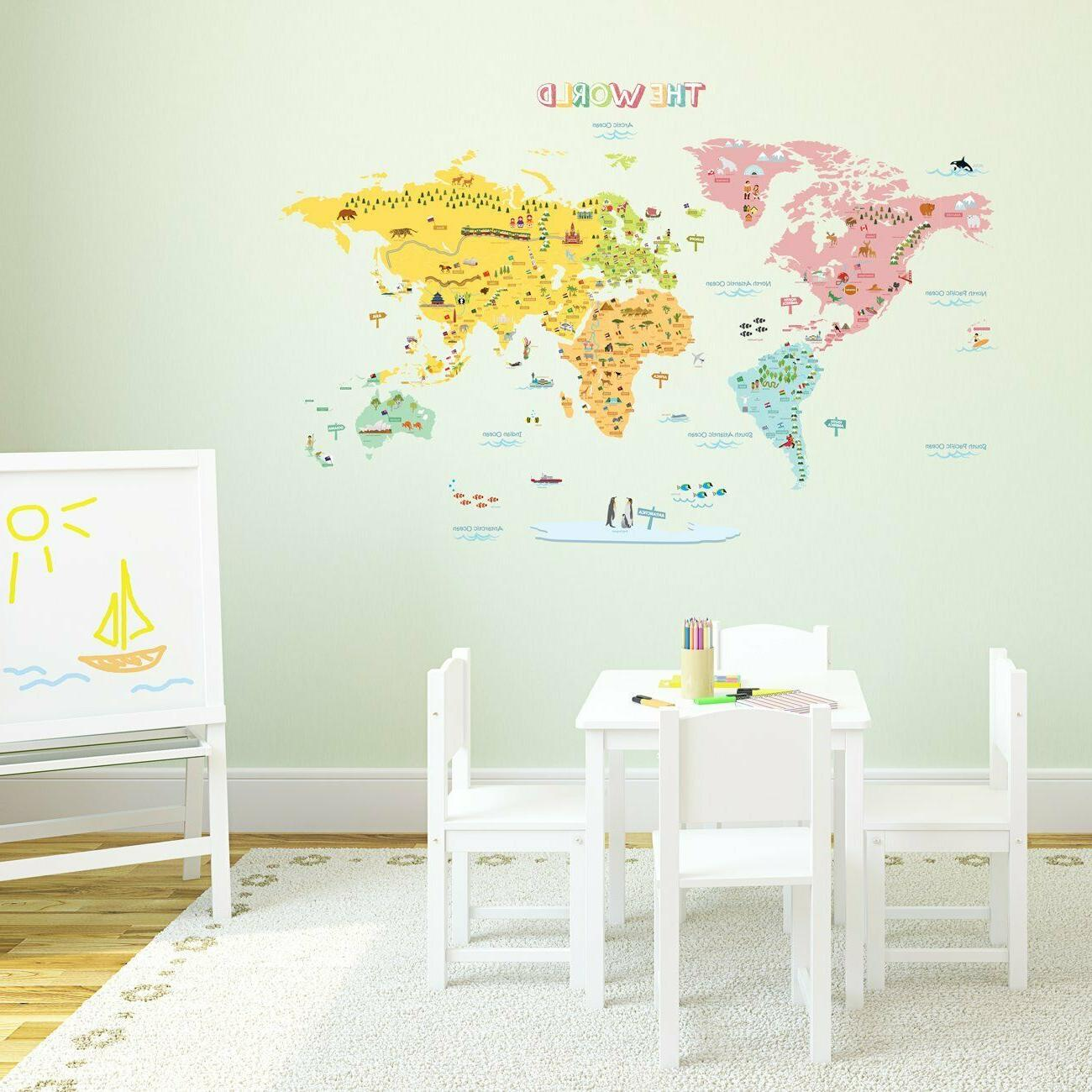 Colorful XL World Map Peel & Removable