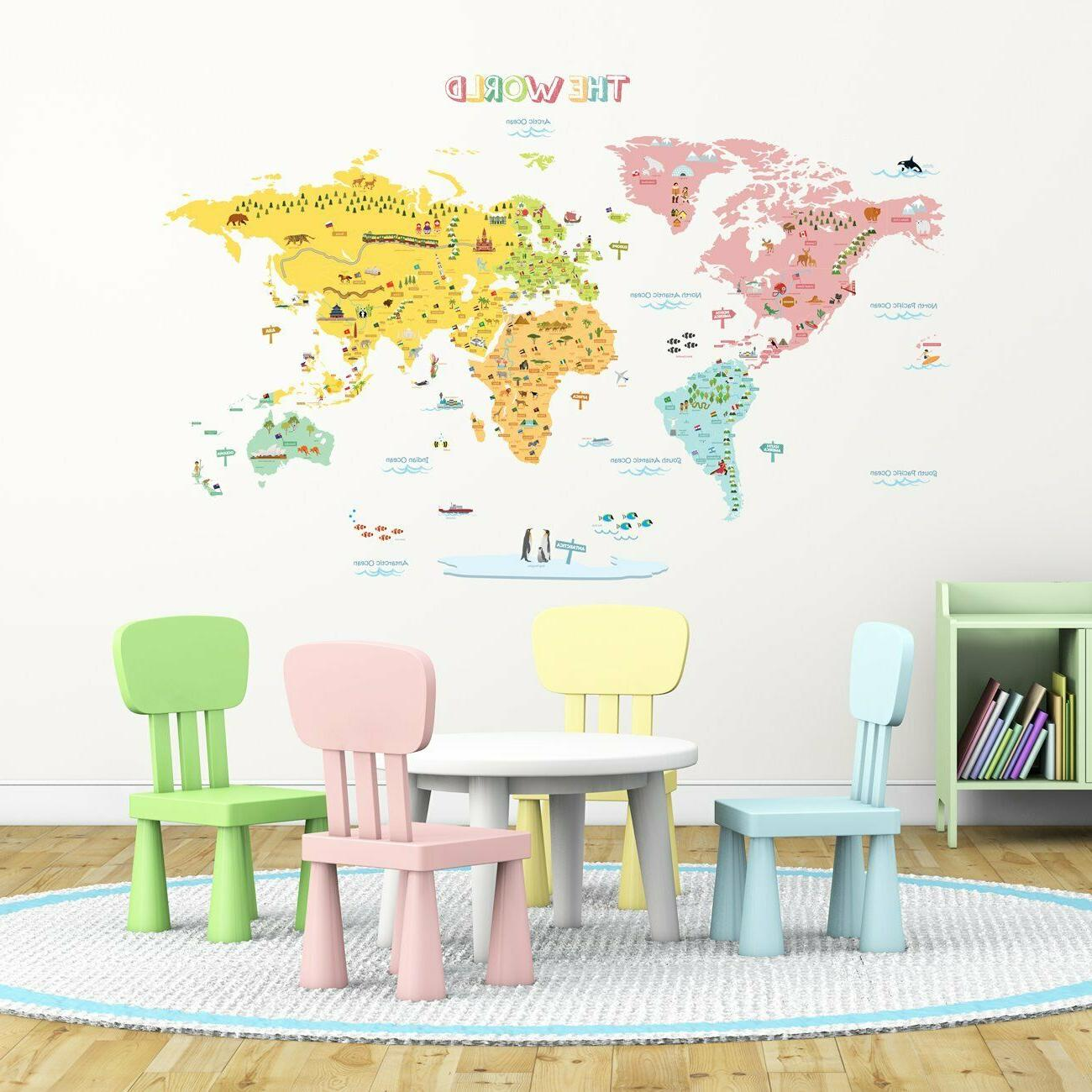 Colorful XL Kids Wall Decals Peel & Stick Nursery