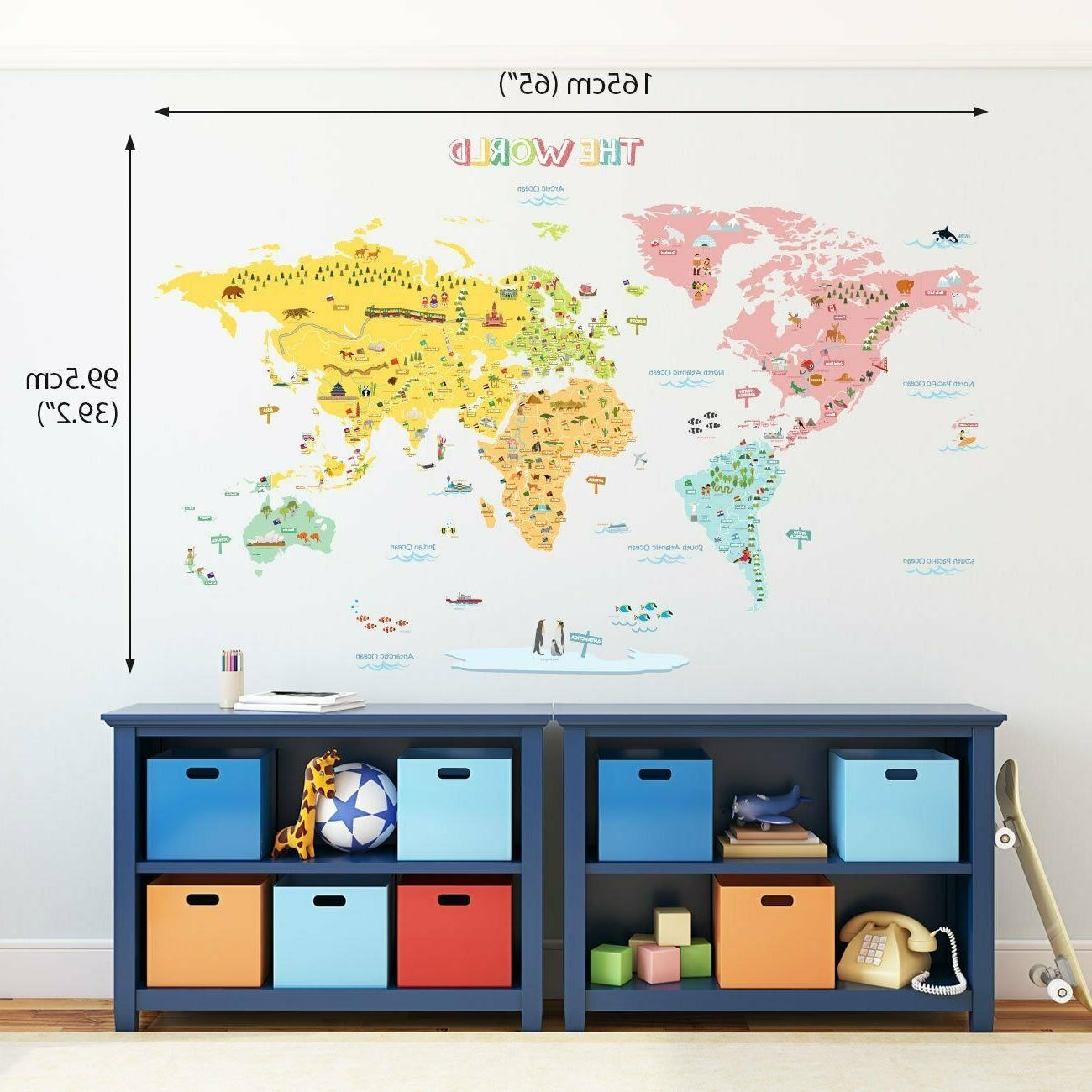 colorful xl world map kids wall decals