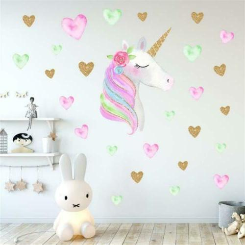 Amaonm Cute Unicorn With Hearts Wall Heart