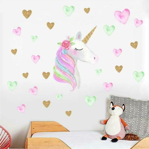 Amaonm Creative Cute Unicorn With Wall Decals Heart