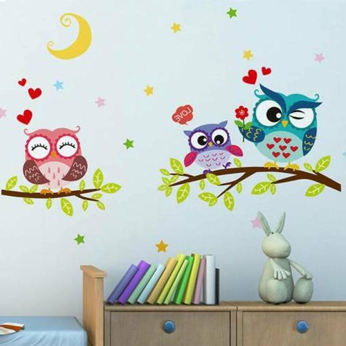 Cute Owl Mural Decals Removable Decor