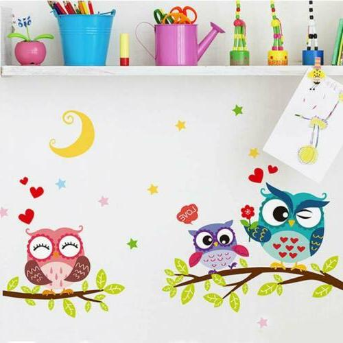 Cute Animal Kids Baby Owl Decals Removable Home Decor