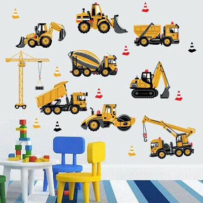 PVC Room Stickers Cartoon Excavator Construction Wall Decals