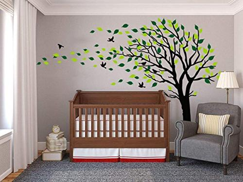 Large Blowing The Wind Tree Decals Wall Art Kids Girls Wallpaper Sticker Wall Decor Nursery