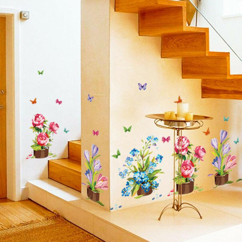 decoration wall stickers potted flowers plants home