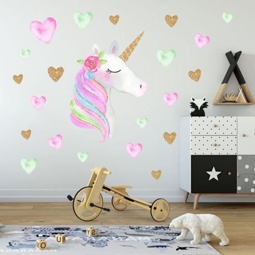 delicate star unicorn with flowers wall decals