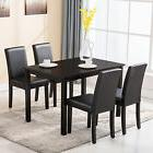 5 Piece Dining Table Set 4 Chairs Wood Kitchen Dinette Room