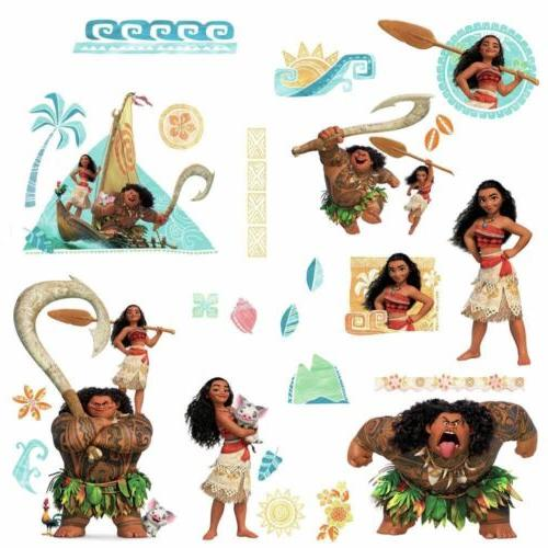 DISNEY MOANA & MAUI Wall Decals 28 Peel & Stick Stickers Mur
