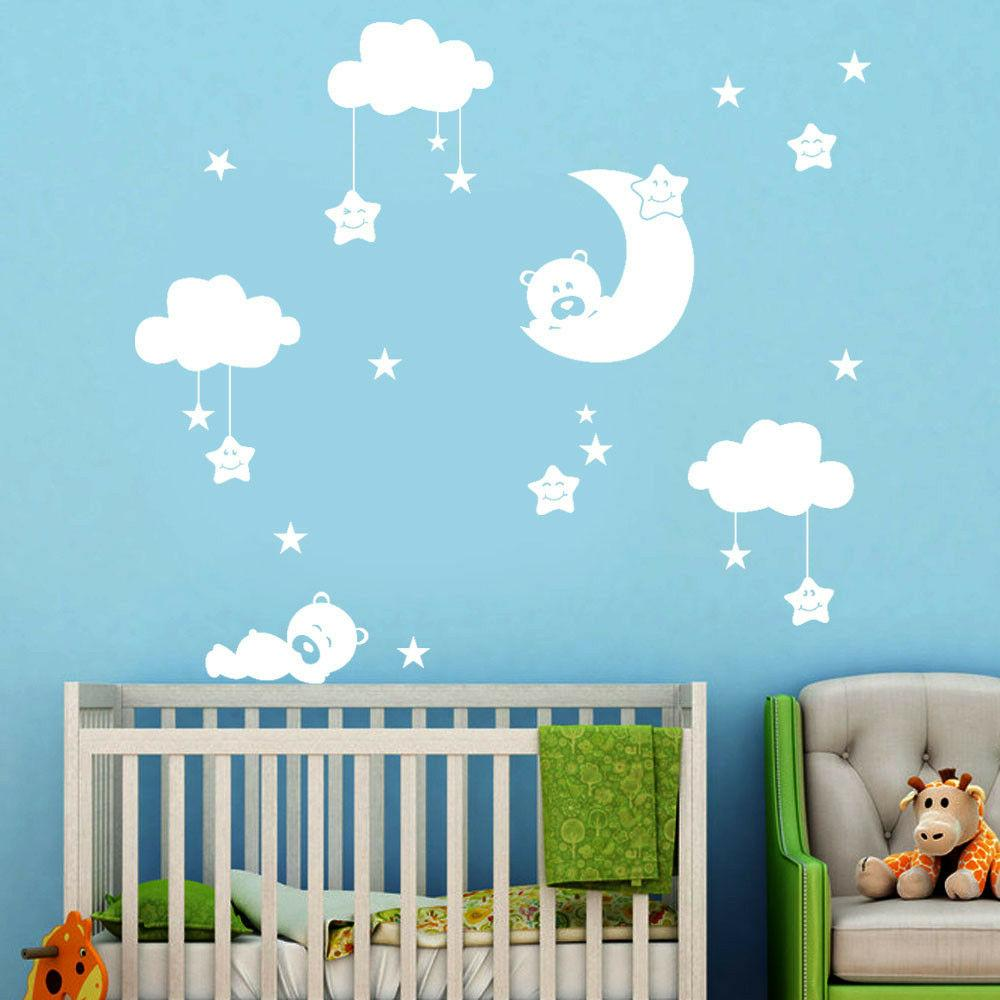 diy large clouds moon stars wall decals