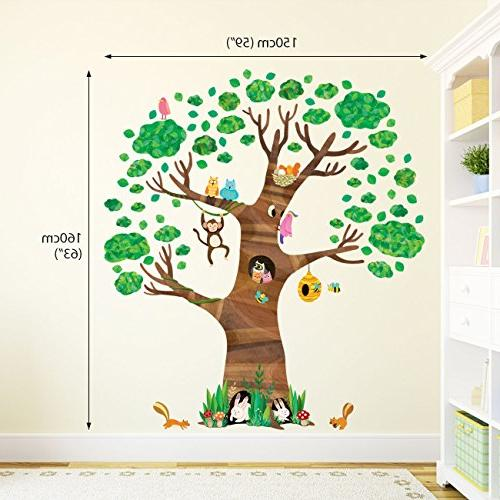 Decowall Giant Tree and Animals Decals and Removable Stickers for Kids Nursery Bedroom Living Room