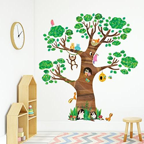 Decowall DL-1709 Giant Tree and Animals Decals Wall Stickers and Stickers Kids Nursery Bedroom