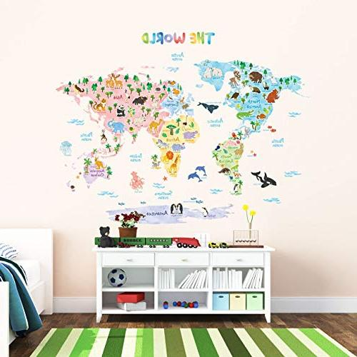 Decowall DLT-1615 Animal Map Kids Wall Wall Stickers Peel Stick for Kids Living