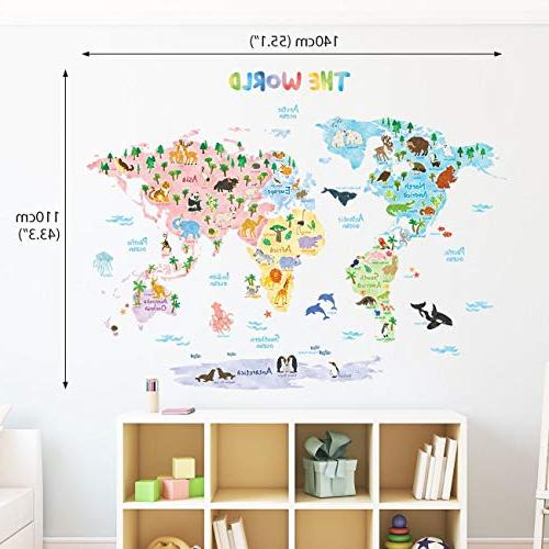 Decowall DLT-1615 Map Kids Wall Peel Stick for Living Room