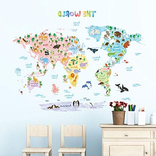 Decowall Animal Map Wall Stickers Stick Wall for Kids Living Room