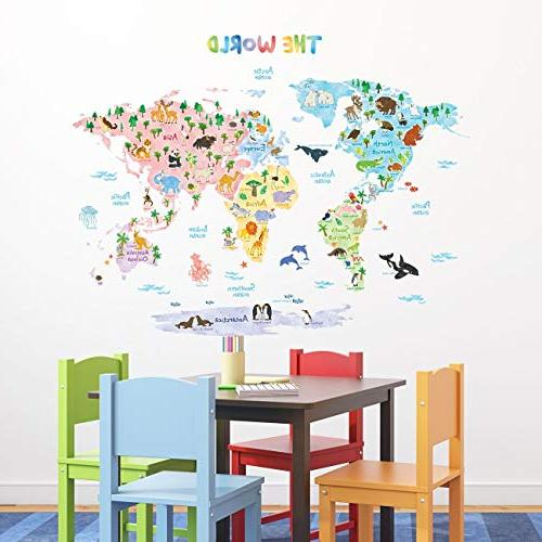 Map Wall Wall Stick Removable Wall Stickers for Kids Bedroom Living Room