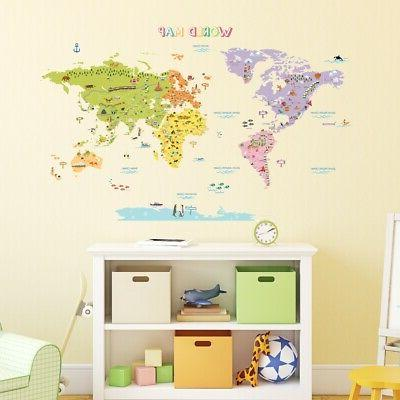 Decowall DAT-1306N The Large World Map Nursery Kids Wall Sti
