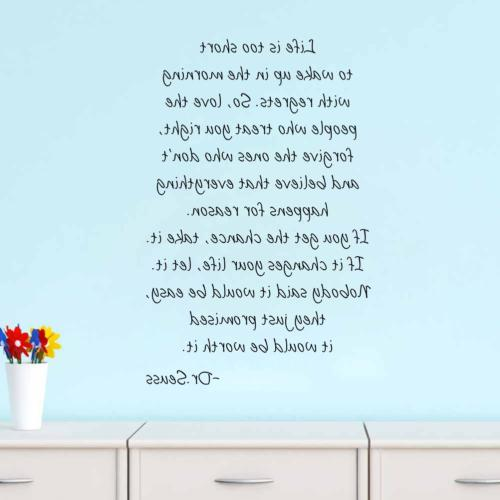 Boodecal Seuss Series Inspirational Quote Wall Life Too Short to up