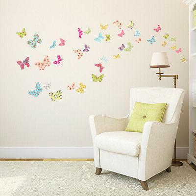 Decowall DW-1408 Patterned Butterflies Nursery Wall Stickers