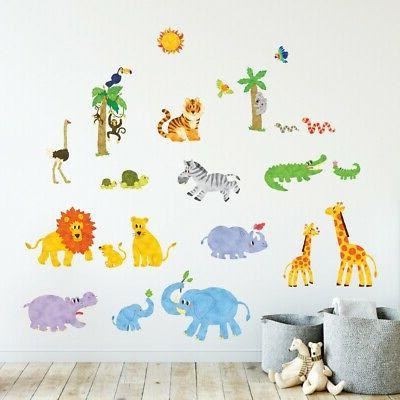 Decowall DW-1513 Jungle Animals Wall Stickers kids Decal Chi