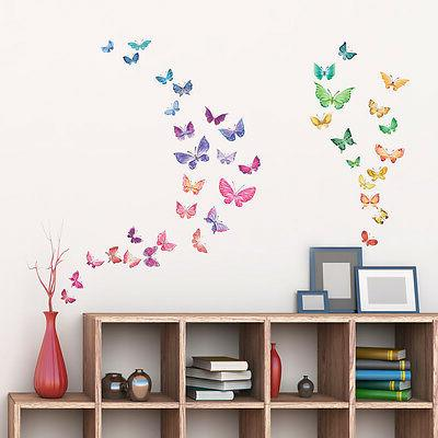 Decowall DW-1602 Watercolor Butterflies Wall Stickers peel &