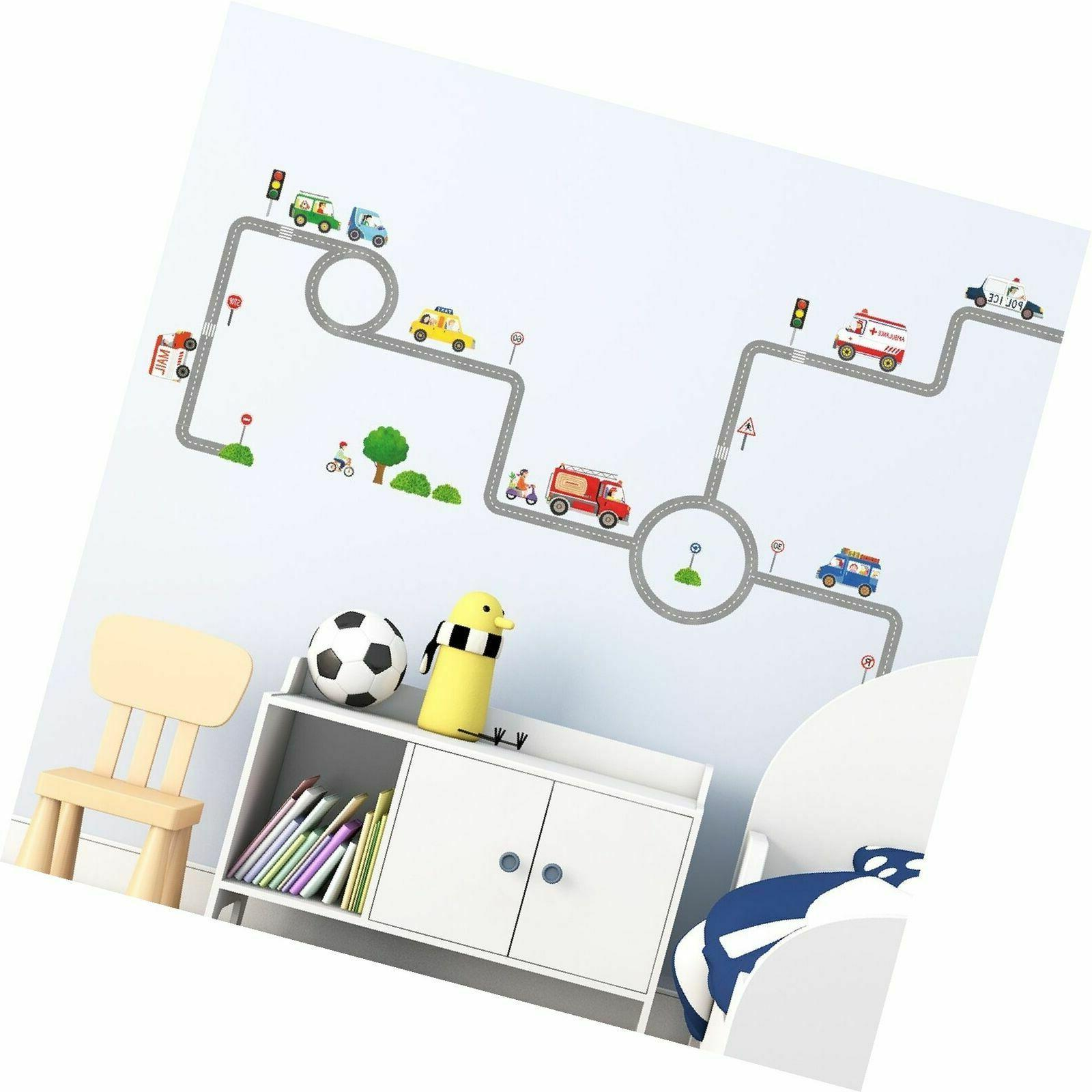 Decowall DW-1604 Vehicles on The Roads Kids Wall Decals Wall