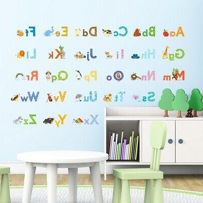 dw 1608s watercolor animal alphabet wall stickers