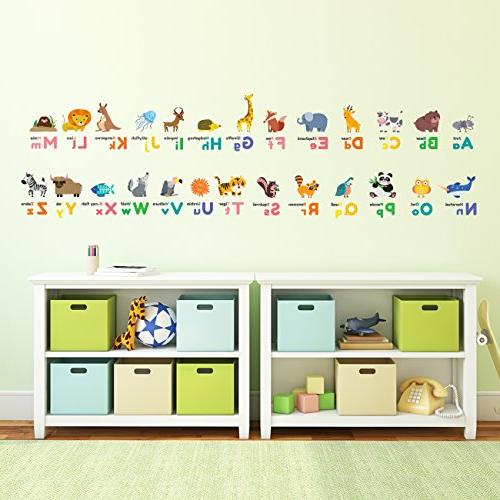 Decowall DW-1614 Alphabet ABC Decals Wall Stickers and Wall Stickers for Kids Bedroom Living Room