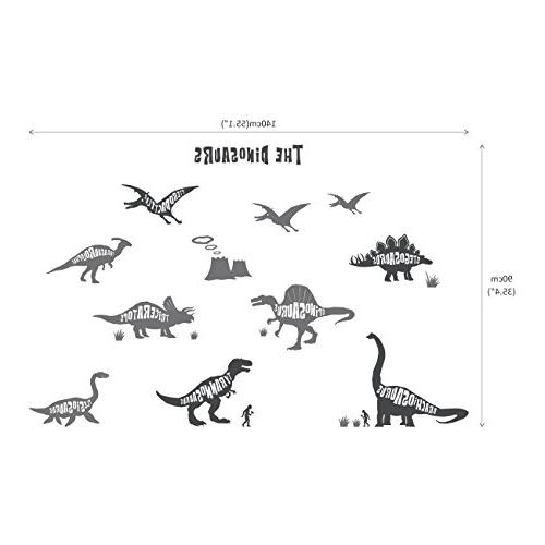 Decowall DWG-603G Dinosaurs Graphic Kids Stickers and Stick Wall Stickers for Nursery Bedroom