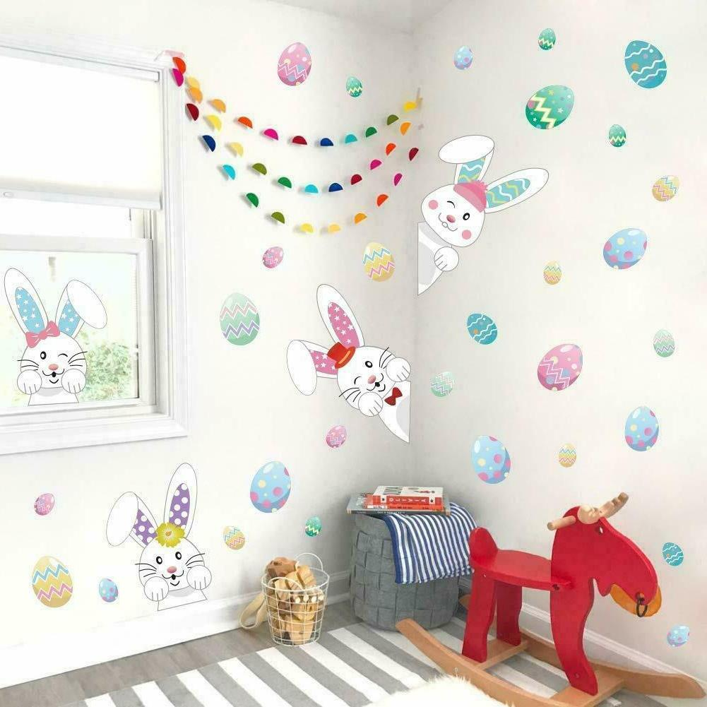 easter decorations bunny wall decals easter eggs
