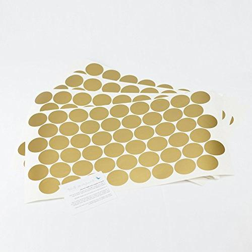 Easy Peel Gold Wall Decal - Safe on Walls & Paint Polka Round Stickers - Large Paper Sheet Room Set