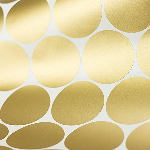 Easy Gold Decal - Inch Safe on & Paint Metallic Polka Dot Round Stickers Sheet Set