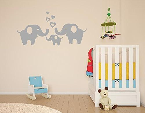 Elephant Family Removable Vinyl Art Elephant Decorative Unisex Sticker Nursery Wall Décor