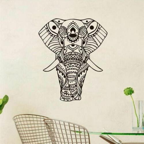 Elephant Wall Sticker Mandala Flower Vinyl