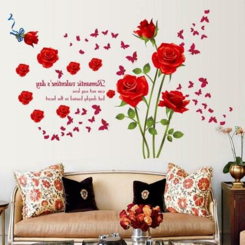 fashion romantic rose flower wall decals vines