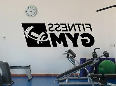 fitness gym logo wall decal sports dumbbell