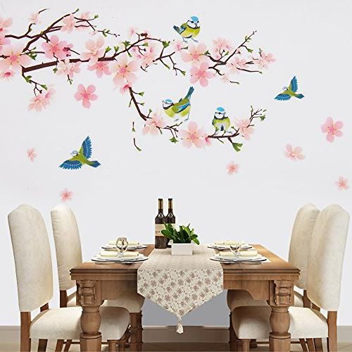 Wopeite Floral Sticker Adhesive Flower Peach Blossom Branch Sticker Living Room Bedroom 45 60 cm