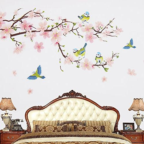 Wopeite Floral Wall Decal Sticker Flower Branch Instant Sticker for Living Bedroom X 60 cm