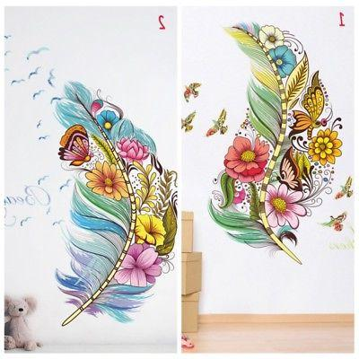 Flower Feather Removable Wall Sticker Art PVC Decal Mural Ho