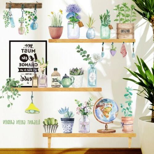 Flower Potted Living Decor Vinyl Wall Decal Mural