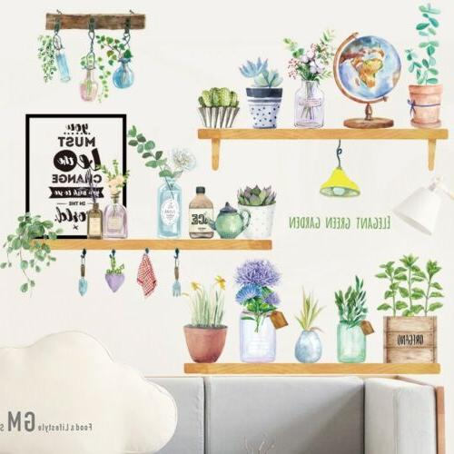 Flower Potted Living Vinyl Stickers Decal Mural